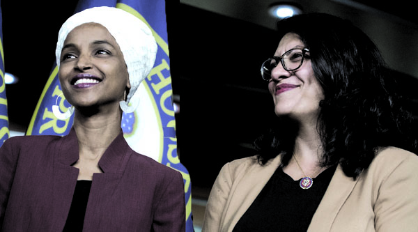 From left to right: Ilhan Omar and Rashida Tlaib.
